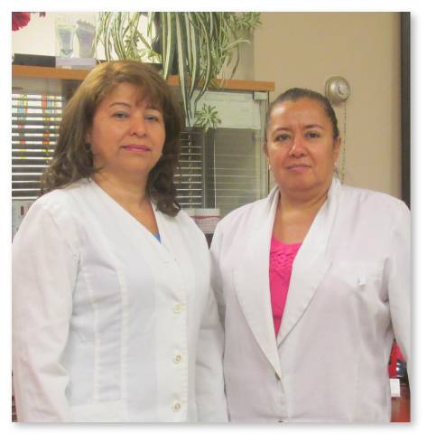 Ligia Bardales and Dolores Pinto, our footcare hygienists